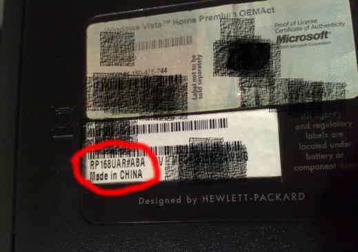 Product Number de una HP Pavilion